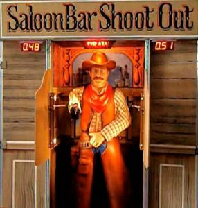 The Saloon Bar Shoot-out game in operation - when the doors open and the box lights up, the cowboy is ready to shoot
