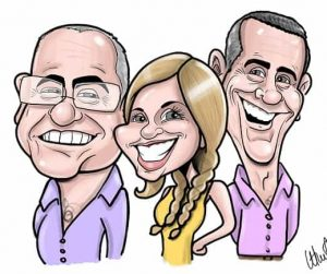 group caricature drawn on iPad by a digital caricaturist
