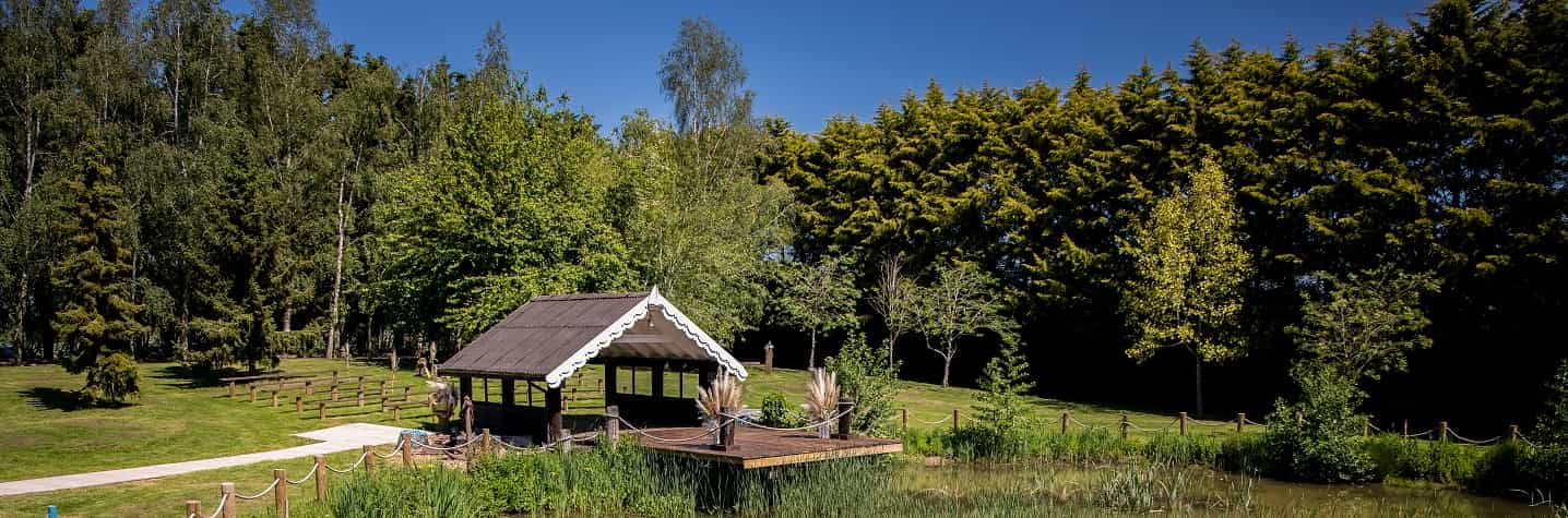 Boathouse by the lake at Crown Hall Farm outdoor event venue
