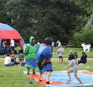sumo suit wrestling at corporate fun day